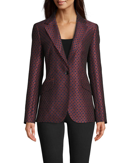 Robert Graham Penelope Geometric Jacquard Printed One-Button Blazer
