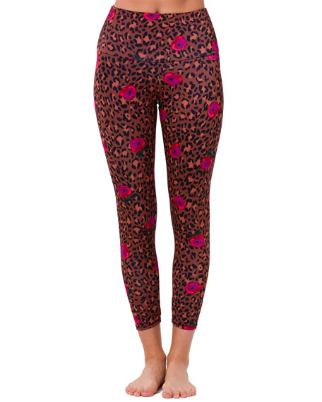 Onzie High-Rise Floral Leopard-Print Midi Leggings