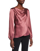 cinq a sept Christine Overlapping Silk Blouse