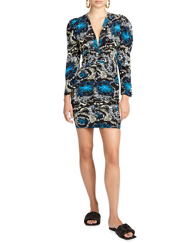 Roxy Ruched Puff-Sleeve Dress