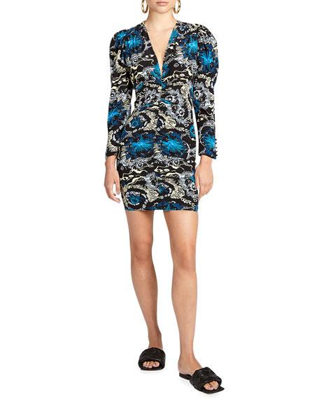 A.L.C. Roxy Ruched Puff-Sleeve Dress