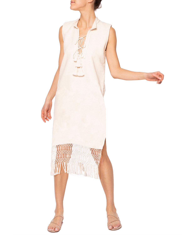 Jaline HARPER HANDWOVEN MACRAME DRESS