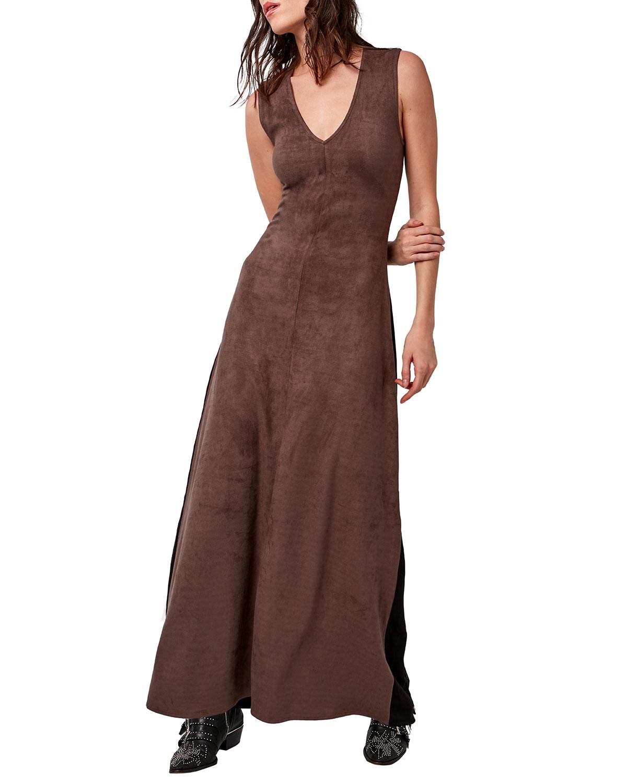 Fifteen Vegan Suede Maxi Dress