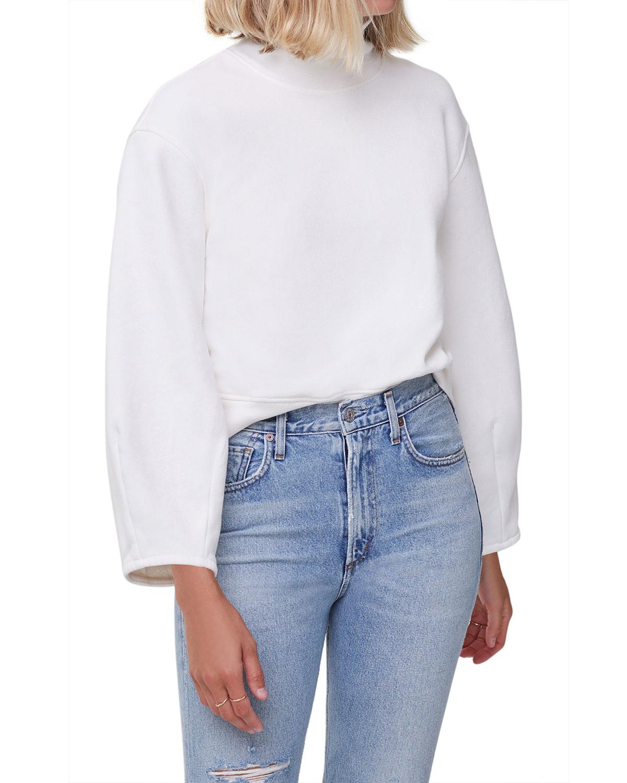 Maya Mock-Neck Sweatshirt with Sculpted Sleeves