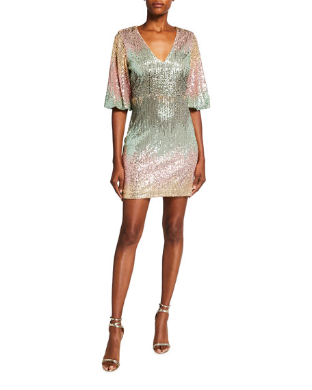 One33 Social Ombre Sequin V-Neck 1/2-Sleeve Mini Dress