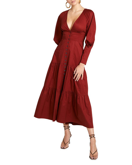 A.L.C. Fleur Long-Sleeve Tiered Cotton Maxi Dress