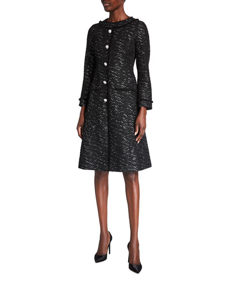 Rickie Freeman for Teri Jon Long-Sleeve Button-Front Tweed Dress