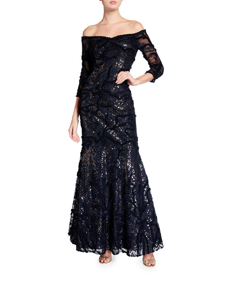 Rickie Freeman for Teri Jon Sequin Off-the-Shoulder Elbow-Sleeve Embroidered Tulle Gown