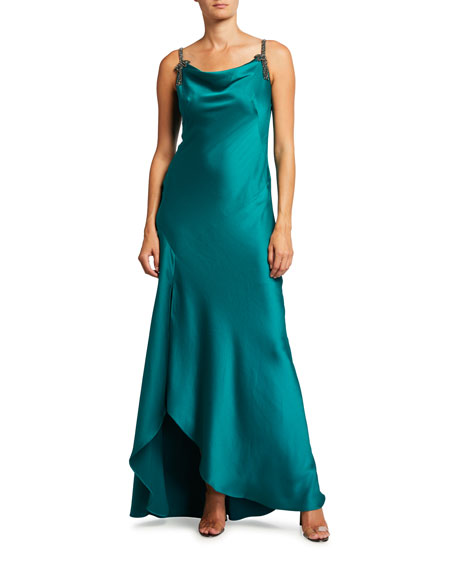 Rickie Freeman for Teri Jon Cowl-Neck Beaded Strap Hammered Crepe Gown