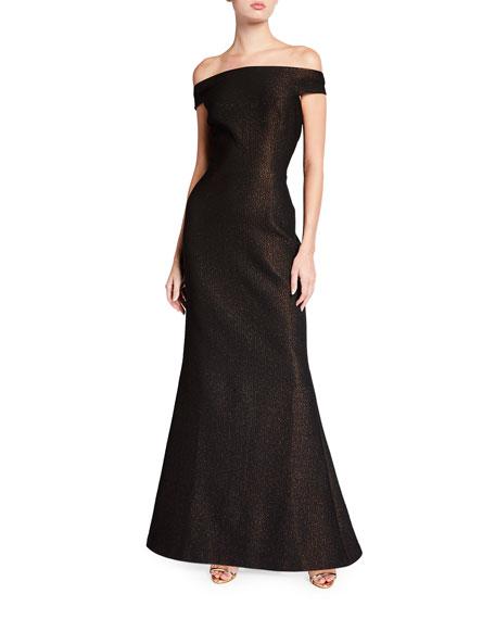 Rickie Freeman for Teri Jon Off-the-Shoulder Metallic Stretch Jacquard Sheath Gown