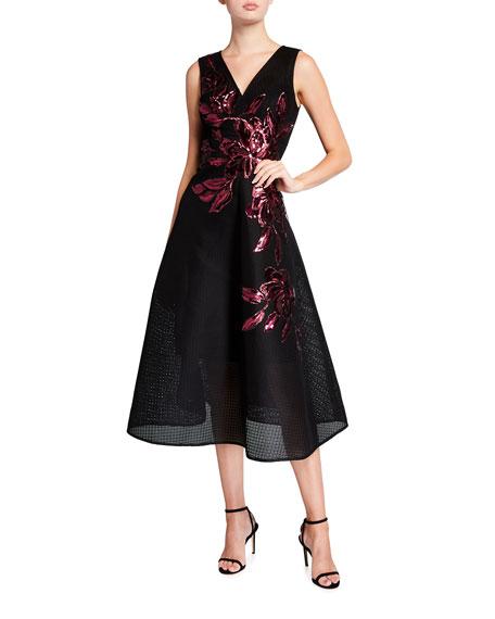 Rickie Freeman for Teri Jon Neoprene Mesh Sequin Trimmed V-Neck Sleeveless Midi Dress