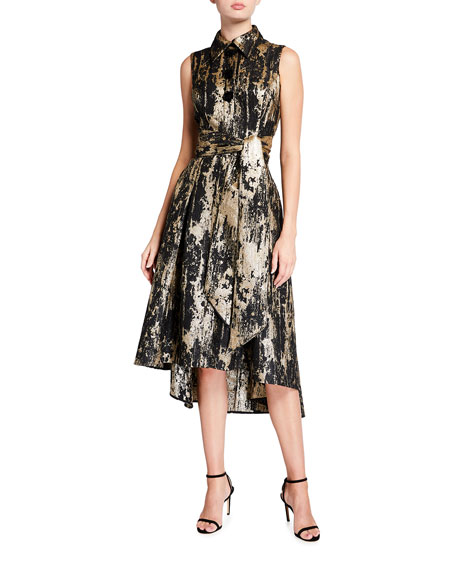 Rickie Freeman for Teri Jon Metallic Jacquard Sleeveless High-low Shirtdress