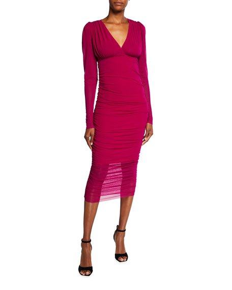Fuzzi V-Neck Long Sleeve Ruched Solid Dress