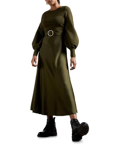 Ted Baker Gwen Bishop-Sleeve Belted Ponte Midi Dress