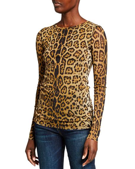 Fuzzi Animal-Print Long Sleeve Top