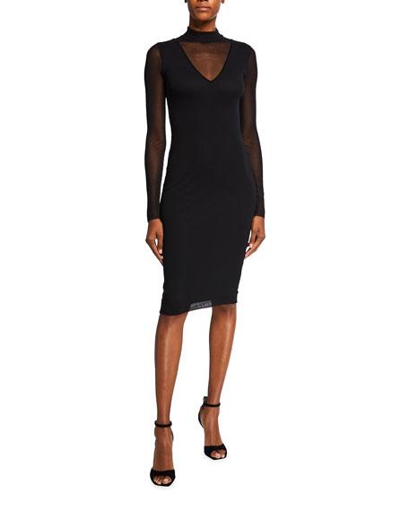 Fuzzi Long Sleeve Mock Neck Solid Illusion Dress