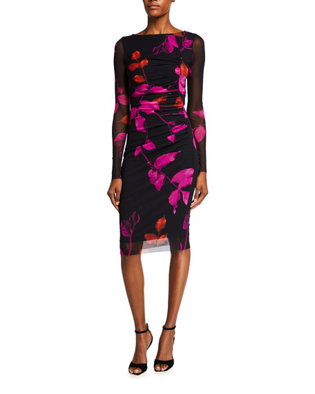 Fuzzi Falling Leaves Ruched Long-Sleeve Dress