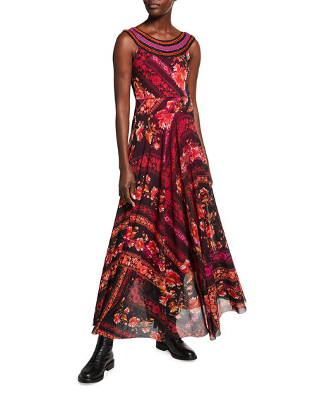 Fuzzi Organized Flower Print Sleeveless Maxi Dress