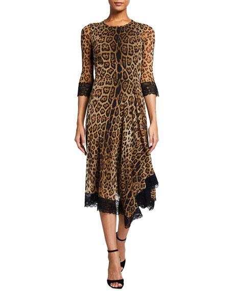 Fuzzi Animal-Print Handkerchief Dress with Lace Trim