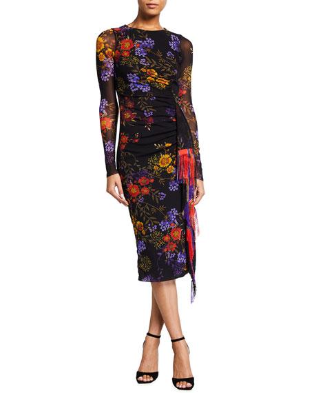 Fuzzi Botanical Print Long Sleeve Fringe Side-Draped Dress