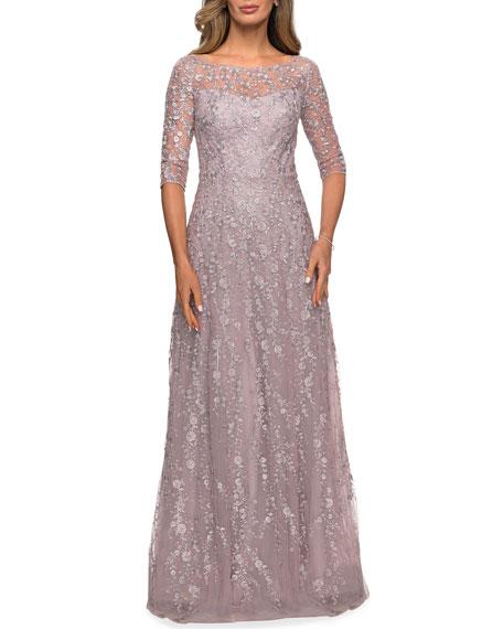 La Femme 3/4-Sleeve Floral Lace A-Line Gown