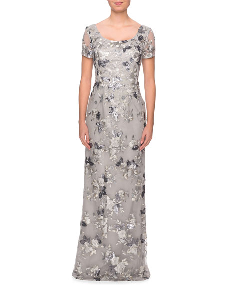 La Femme Scoop-Neck Embellished Floral Lace Gown