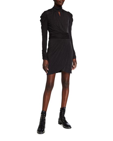 Jonathan Simkhai Standard Ruched Long-Sleeve Mock-Neck Mini Dress