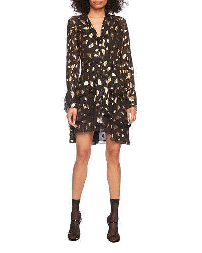 Mylah Metallic Leaf Chiffon Mini Dress