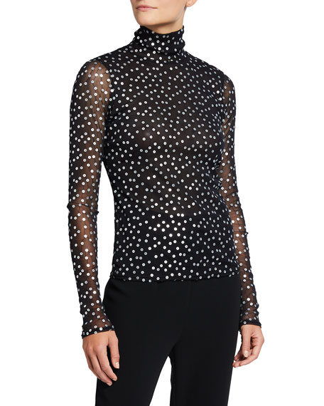 cinq a sept Long-Sleeve Mesh Sequined Turtleneck