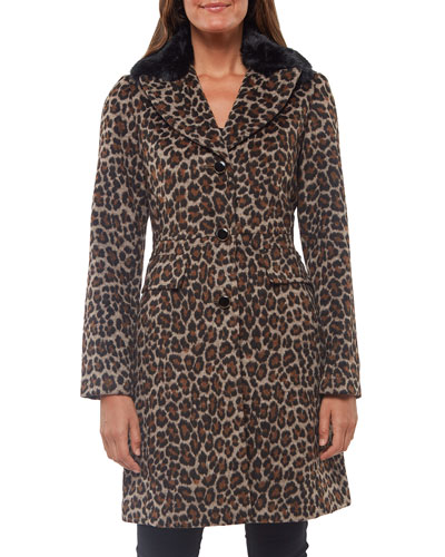 leopard-print wool coat with faux-fur collar