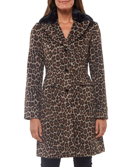 kate spade new york leopard-print wool coat with faux-fur collar