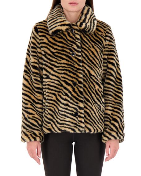 kate spade new york novelty zebra faux fur coat