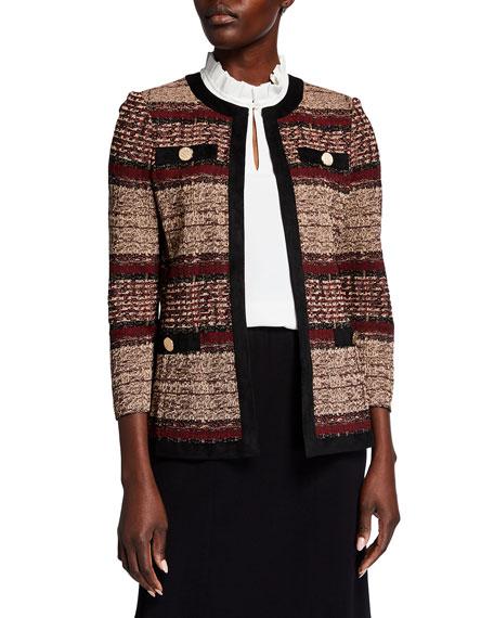 Misook Plus Size Collarless Melange Striped Jacket