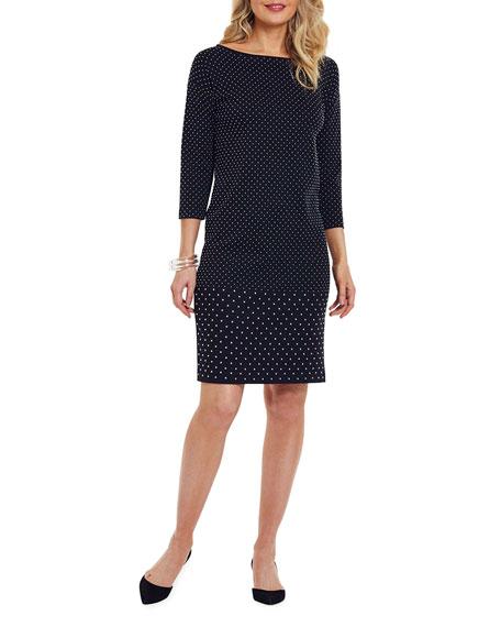 Joan Vass Petite Studded 3/4-Sleeve Boat-Neck Dress