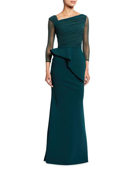 Chiara Boni La Petite Robe Rippy Asymmetrical 3/4-Sleeve Illusion Gown