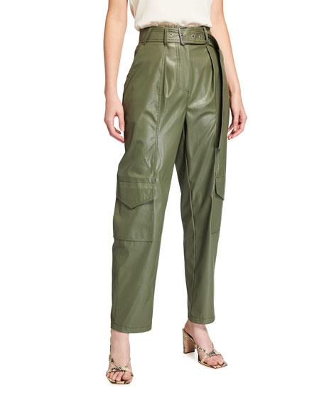 Tanya Taylor Megan Faux-Leather Cargo Pants w/ Belt