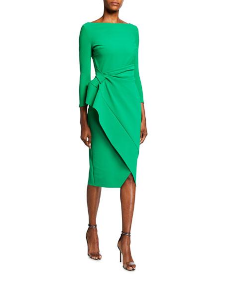 Chiara Boni La Petite Robe Boat-Neck 3/4-Sleeve Mock-Wrap Dress