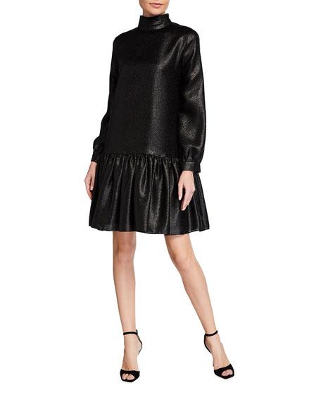 Tibi Metallic Long-Sleeve Drop-Waist Dress