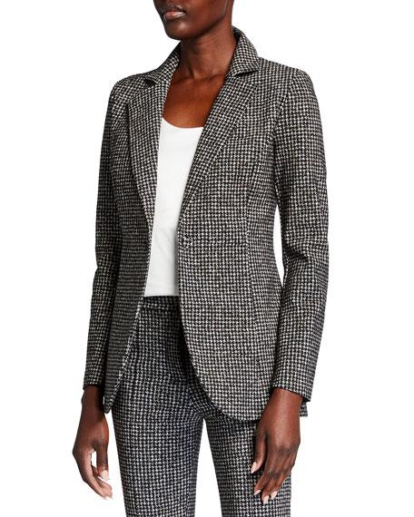 Chiara Boni La Petite Robe Luba Houndstooth One-Button Blazer