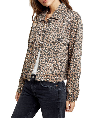 Steffi Leopard-Print Jacket with Flap Pockets