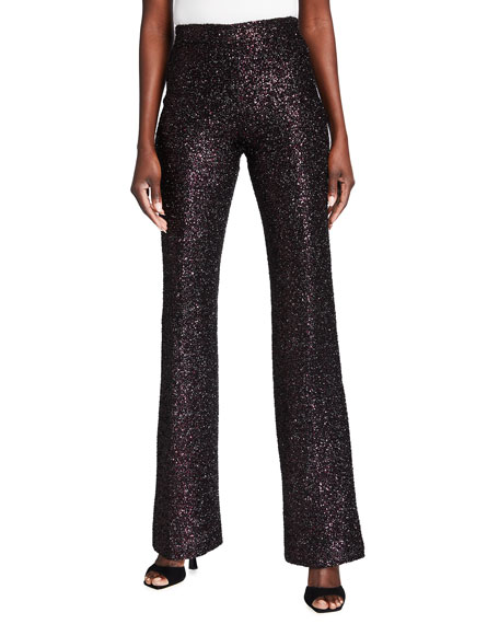 Badgley Mischka Collection Sequin Flared-Leg Pants