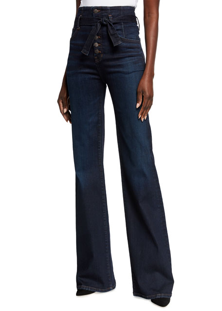 Veronica Beard Jeans Rosanna High-Rise Tie-Waist Jeans