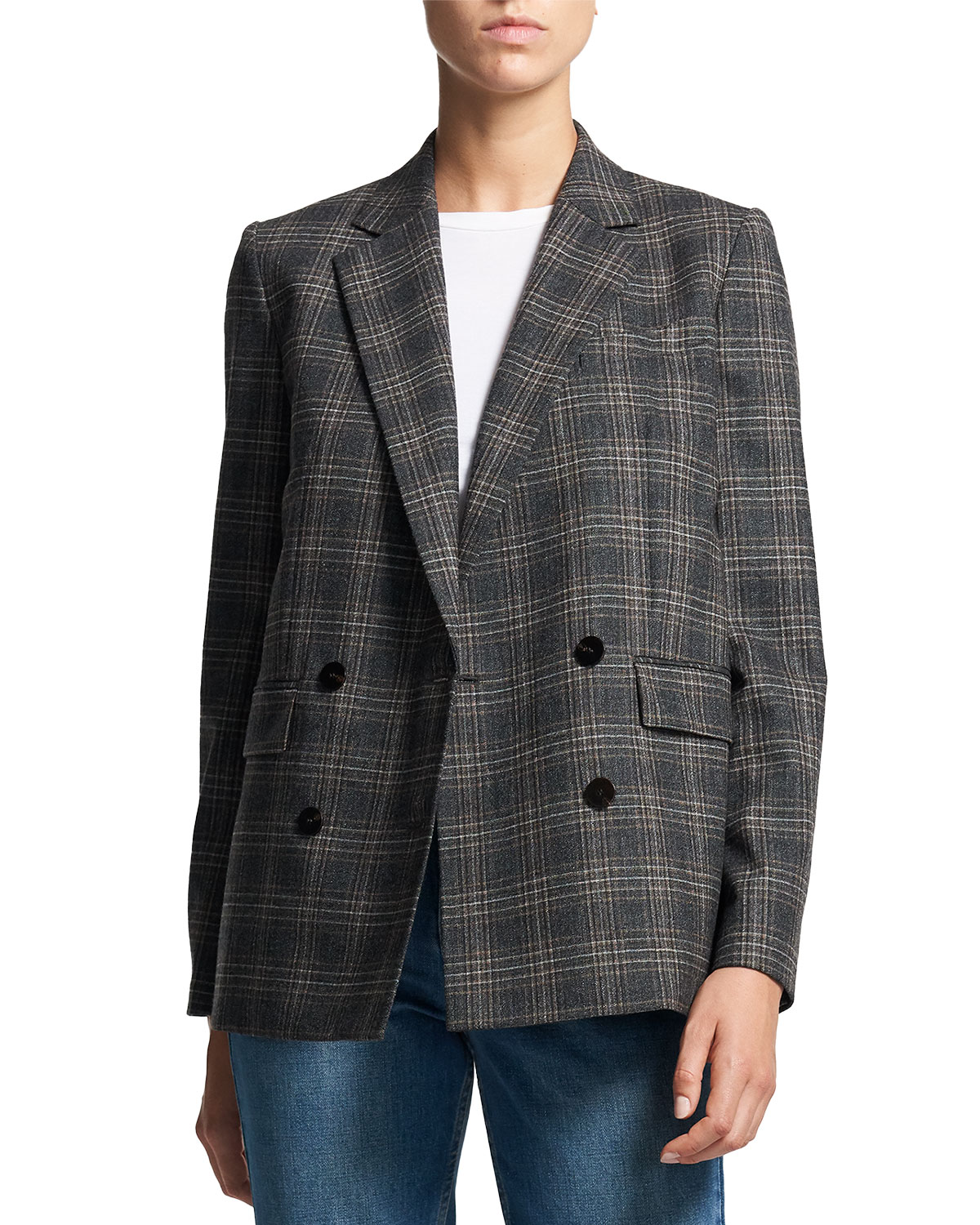 Theory Piazza Plaid Wool Jacket