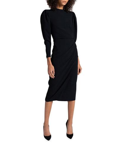 Meline Puff-Sleeve Midi Dress