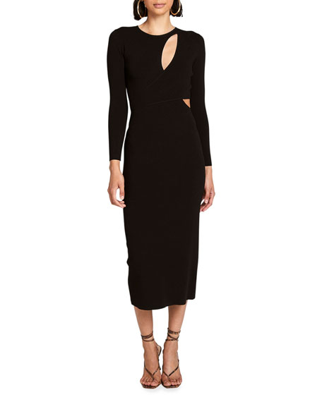 A.L.C. Lorelei Long-Sleeve Keyhole Dress with Cutout