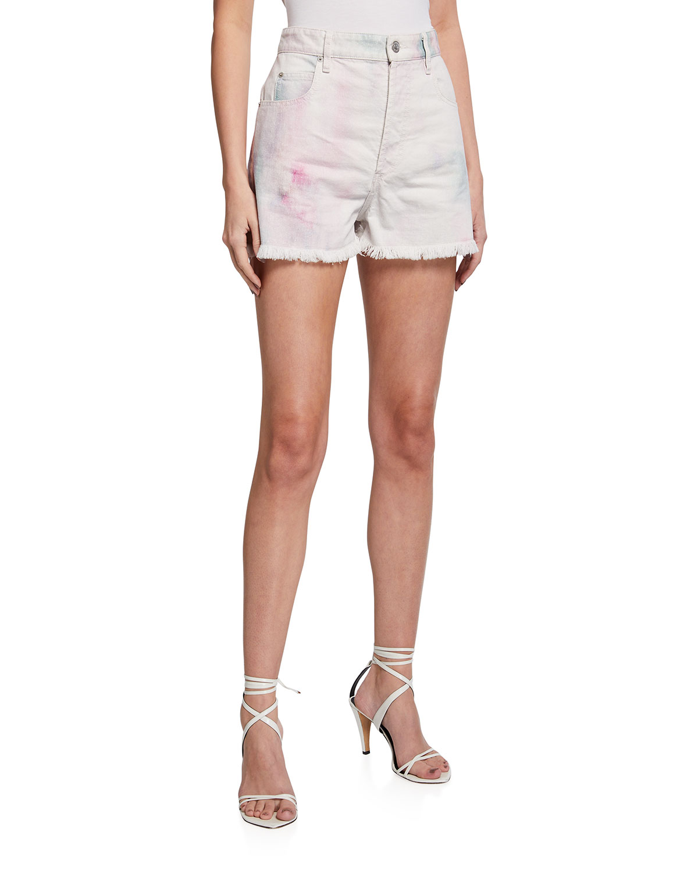 Lesiabb Tie-Dye Denim Shorts