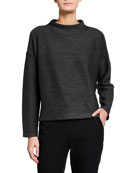 Eileen Fisher Diagonal Striped Funnel Neck Box Top