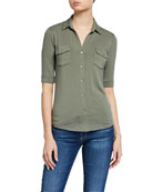 Majestic Filatures Soft Touch 3/4-Sleeve Button-Down Tee