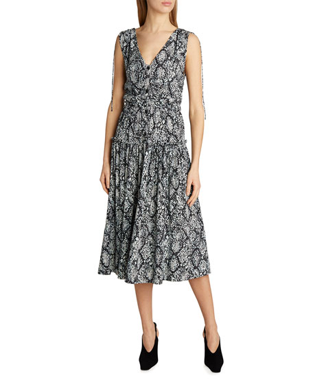 Proenza Schouler White Label Viscose Georgette Ruched Midi Dress