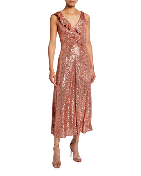 PINKO Australe Sequined Sleeveless Midi Dress